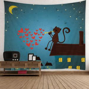 Cartoon Cat Heart Print Wall Decoration Tapestry