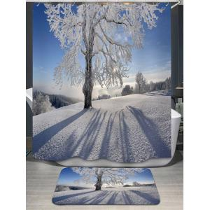 Snow Tree Print Shower Curtain and Area Rug