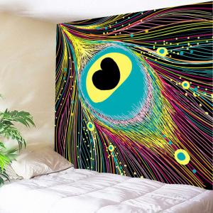 Colorful Heart Feather Printed Wall Decoration Tapestry