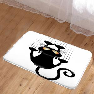 Naughty Cat Printed Skidproof Area Rug - WHITE AND BLACK W20 INCH * L31.5 INCH