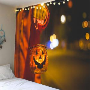 Halloween Smiling Face Candlestick Waterproof Wall Tapestry