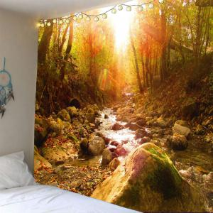 Waterproof Sunshine Forest Stream Wall Tapestry - Ginger - W79 Inch * L59 Inch