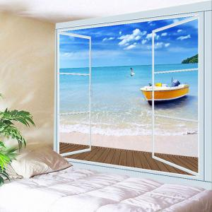 Beach Boat Window Print Tapestry Wall Hanging Art Decoration