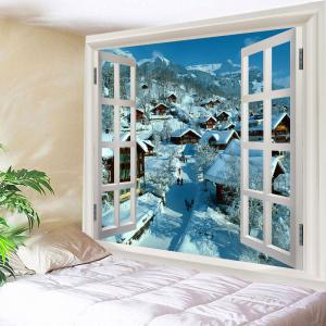 Window Snow Village Print Tapestry Wall Hanging Art Decoration