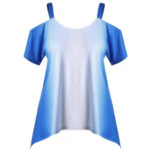 Plus Size Cold Shoulder Ombre Tee