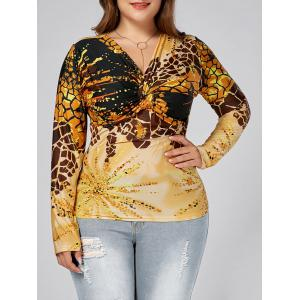 Leopard Printed Plus Size Front Knot Long Sleeve T-shirt