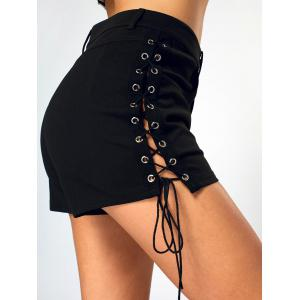 Side Lace Up High Waist Mini Shorts -