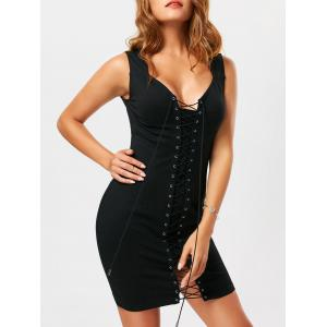 Criss Cross Lace Up Sleeveless Bodycon Dress - Black - Xl