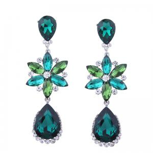 Faux Crystal Flower Teardrop Dangle Earrings