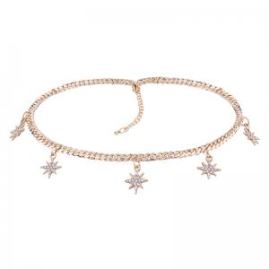 Alloy Rhinestone Charm Sun Star Chain Necklace