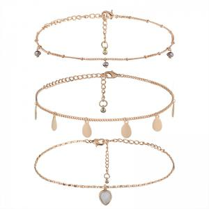 Faux Gem Teardrop Chain Charm Necklace Set