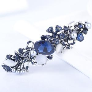 Hollow Out Floral Faux Gem Inlaid Barrette -