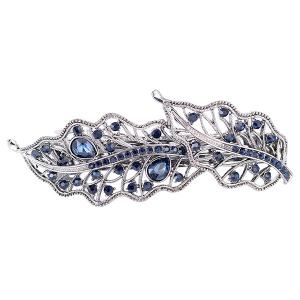 Artificial Gem Inlaid Hollow Out Leaf Barrette