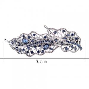 Artificial Gem Inlaid Hollow Out Leaf Barrette -