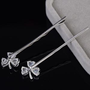 1 Pair Tiny Rhinestone Clover Embellished Hairpins -