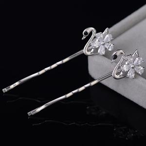 1 Pair Tiny Rhinestone Swan Shape Hairpins - SILVER