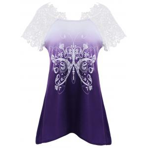 Butterfly Print Lace Insert Asymmetrical T-shirt - Purple - S