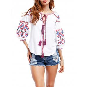 Puff Sleeve Tassels Embroidered Blouse