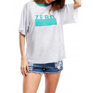 Glittering Graphic Tee - BLUE GREEN ONE SIZE