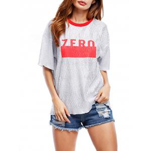 Glittering Graphic Tee - RED ONE SIZE