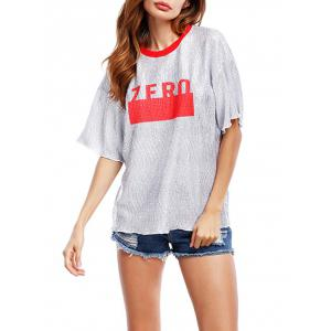 Glittering Graphic Tee - Red - One Size