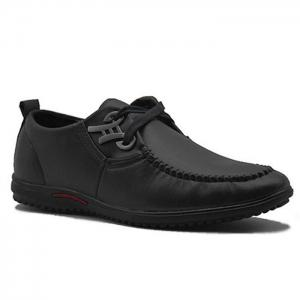 Metal Embellishment Stitching Casual Shoes - Black - 44