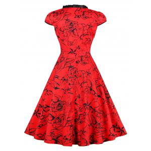Robe Pinup Floral Vintage Lace Up - Rouge S