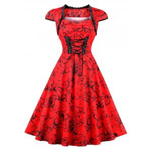 Vintage Lace Up Floral Pinup Dress - Red - Xl