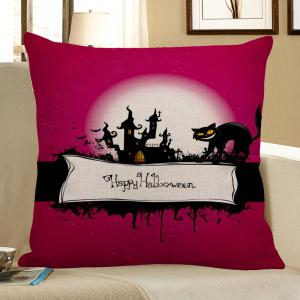 Halloween Cat Pattern Square Pillow Case