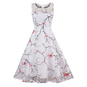 Organza Floral Print Party Skater Dress - Red - 2xl