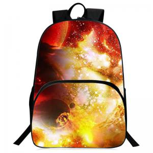 Padded Strap Universe Printed Backpack - Yellow - L