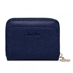 Faux Leather Cherry Pattern Small Wallet - NAVY BLUE
