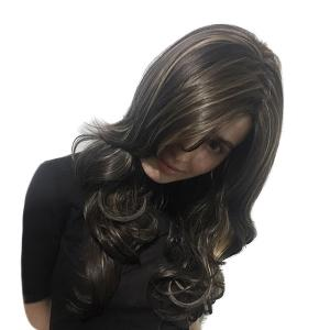 Long Side Part Colormix Highlight Layered Wavy Synthetic Wig - Multicolore 55cm
