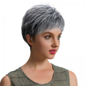 Short Inclined Bang Fluffy Layered Straight Synthetic Wig