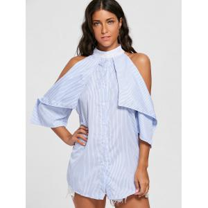 Stripe Cold Shoulder Mini Shirt Dress -
