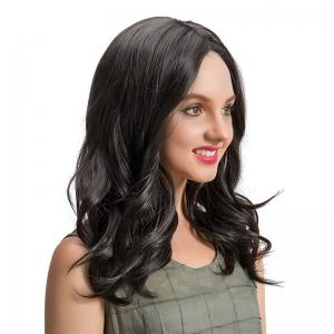 Center Parting Medium Wavy Synthetic Wig - BLACK 42CM