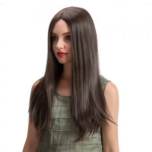 Long Center Parting Straight Synthetic Wig - BROWN 56CM