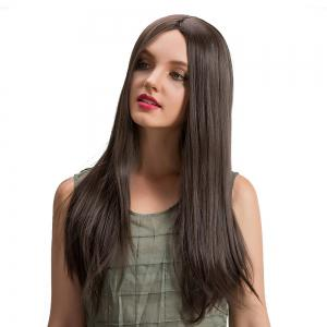 Long Center Parting Straight Synthetic Wig - Brown - 56cm