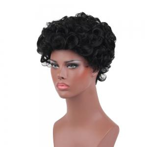 Short Layered Shaggy Curly Synthetic Wig - BLACK 26CM