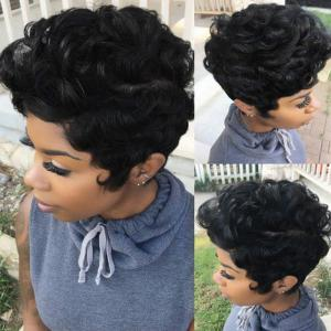 Short Layered Shaggy Curly Synthetic Wig