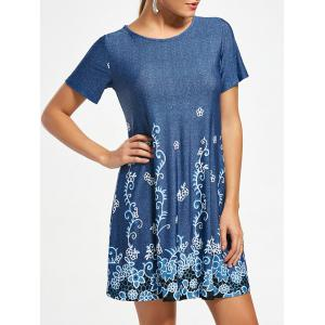 Flower Print Short Sleeve T-shirt Dress