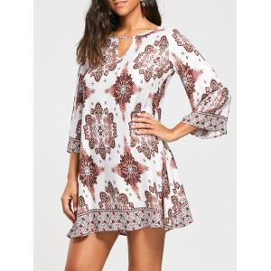Bohemia Print Keyhole Neck Tunic Dress