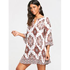 Bohemia Print Keyhole Neck Tunic Dress -