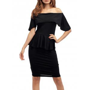 Ruffle Off The Shoulder Peplum Bodycon Dress - Black - Xl