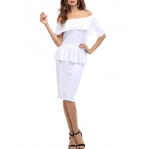 Ruffle Off The Shoulder Peplum Bodycon Dress - WHITE S