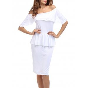 Ruffle Off The Shoulder Peplum Bodycon Dress - White - S