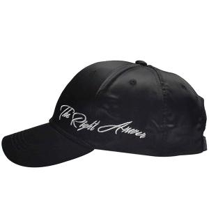 Satin Spliced Letters Embroidered Baseball Cap - BLACK