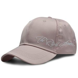 Satin Spliced Letters Embroidered Baseball Cap - Pink - L