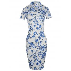 Floral Plus Size Bodycon Cheongsam Dress