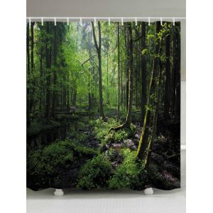 Forest Trees Print Fabric Waterproof Bathroom Shower Curtain - Green - W71 Inch * L79 Inch